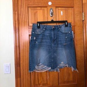 H&M Distressed Denim Skirt (Size 14)